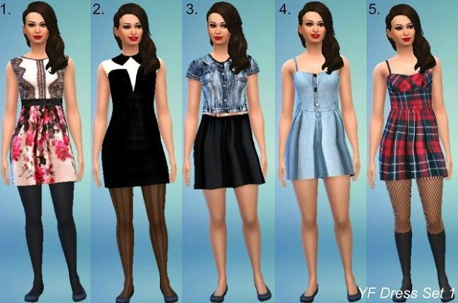 Sims 4 5 dresses set at Jietia Creations