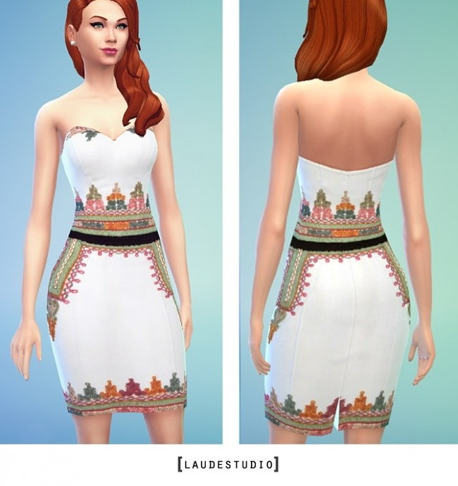 Sims 4 White Dress with Colorful Embroidery at Laude Studio