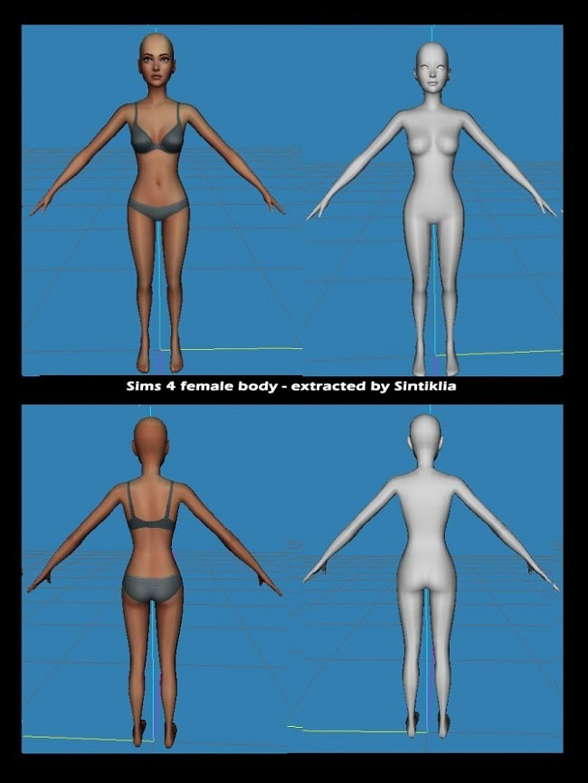 Sims 4 Extracted bodies 3D meshes from Sims 4 at Sintiklia Sims