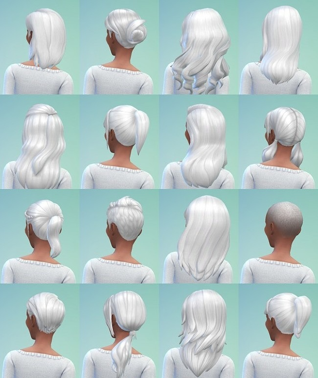 Sims 4 40 Non Default True White Hair Recolors at Simmiane