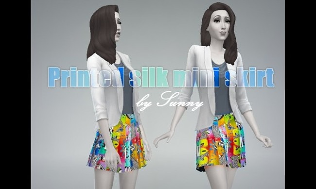 Printed silk mini skirt at Sunny Custom Content image 152 650x389 Sims 4 Updates