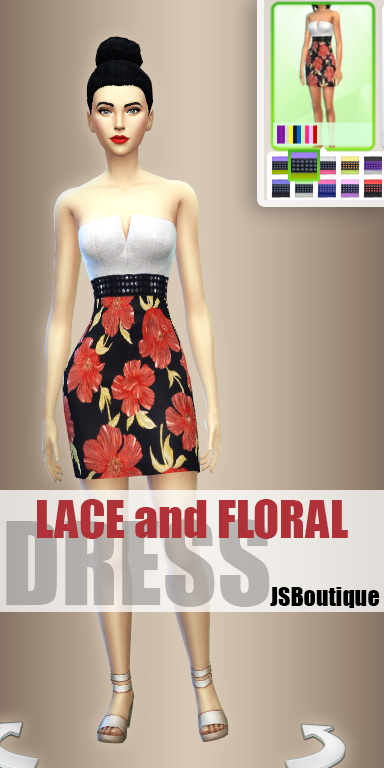 Sims 4 Lace and Floral Dress at JSBoutique