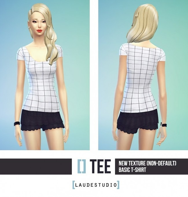 Simple basic t shirt with squares at Laude Studio image 211 650x680 Sims 4 Updates
