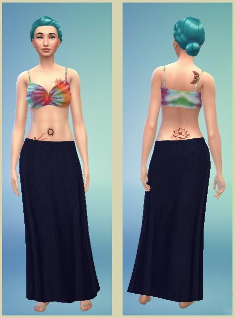 Sims 4 Non Default Tie Dye crop top with Maxi Skirt at Sims Sala Bim