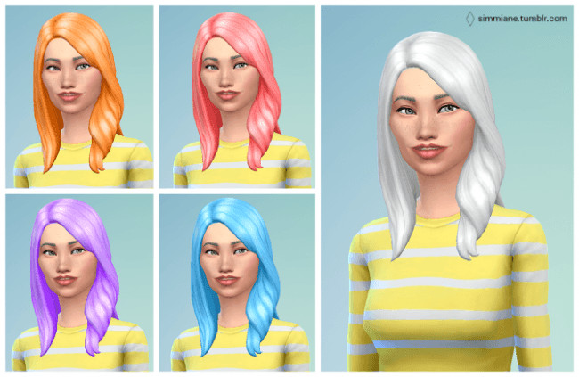 Sims 4 Long Wavy Subtle Hair Recolors by Agnes at Simmiane