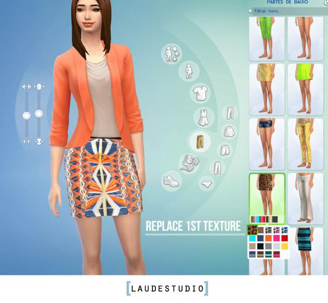 Sims 4 1st Retexture Skirt by Laude Studio