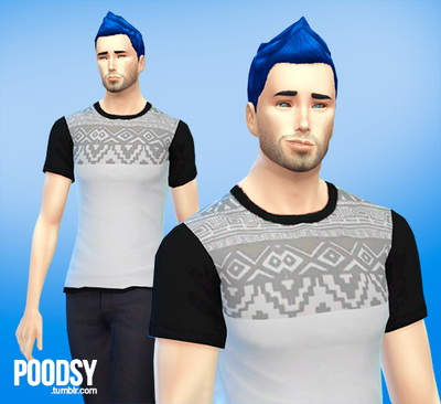 Sims 4 Etnic themed shirt for ya males at Poodsy