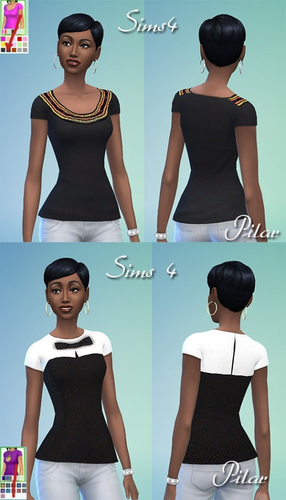 Sims 4 2 new tops by Pilar at SimControl