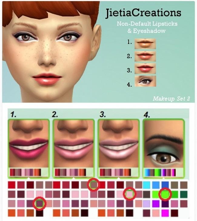 Sims 4 Non default lipsticks and eyeshadows at Jietia Creations