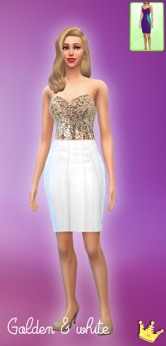 Sims 4 4 golden sequin and maxi dresses set at In a bad Romance