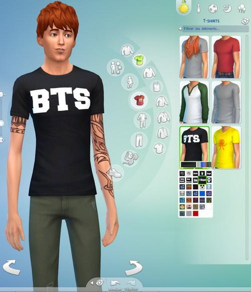 Sims 4 BTS non default t shirt recolors at Darkiie Sims4