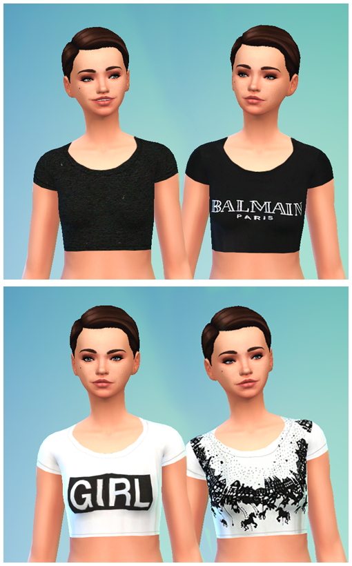 Sims 4 Crop Top 4 variations non default at Puresims