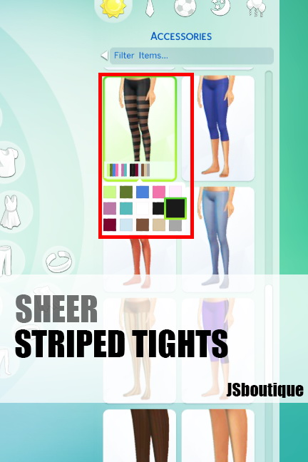Sims 4 Sheer Striped Tights at JSBoutique