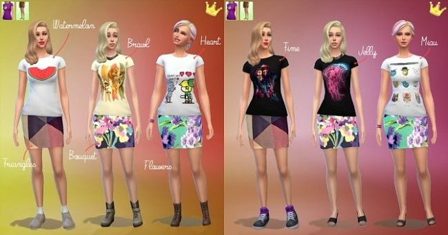 6 Threadless Shirts and 3 Mini Skirts at In a bad Romance image 435 650x342 Sims 4 Updates