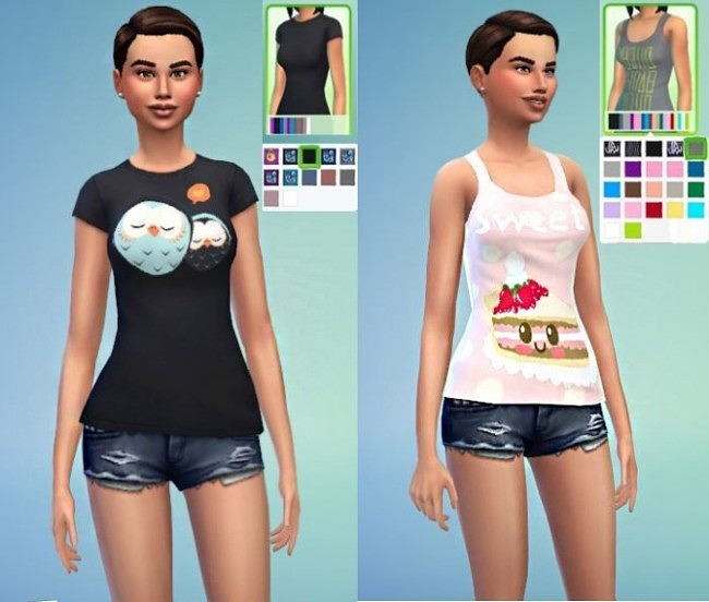 Sims 4 OWL shirt, CAKE tank top and MUFFIN tights at Lulufrosty frog
