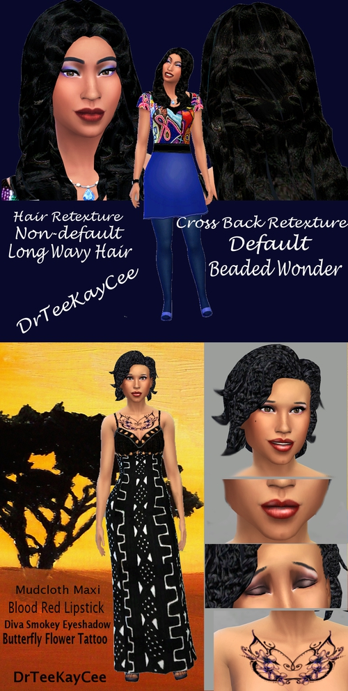 Sims 4 Outfits, hair retexture, tattoo, gloss lipstick and eyeshadow by DrTeeKayCee at Sim Culture Nation
