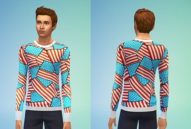 Sims 4 Joy Rich Dollar American Flag Shirt at Sims 4 Sweetshop