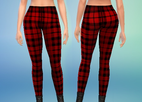 Sims 4 Red and White Plaid Leggings at Puresims