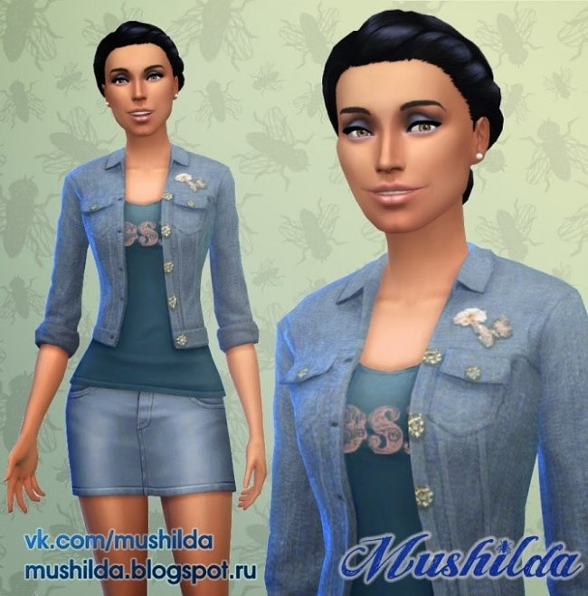 Sims 4 Jacket Open Short Rolled   Jeans Butterfly at Mushilda