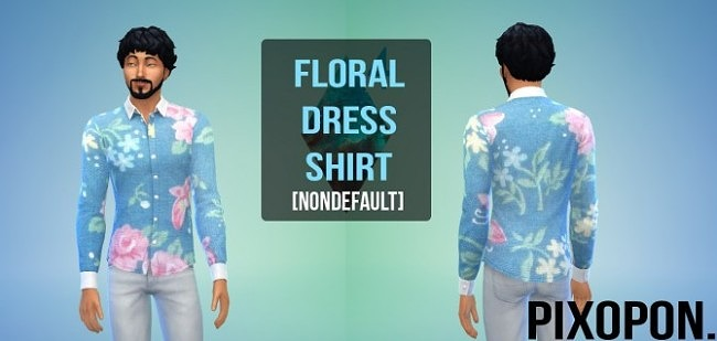 Non default Floral Dress Shirt at Pixopon image 591 650x309 Sims 4 Updates