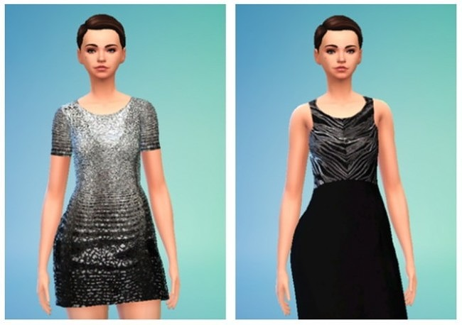 Sims 4 Grey Scale Dress at Puresims