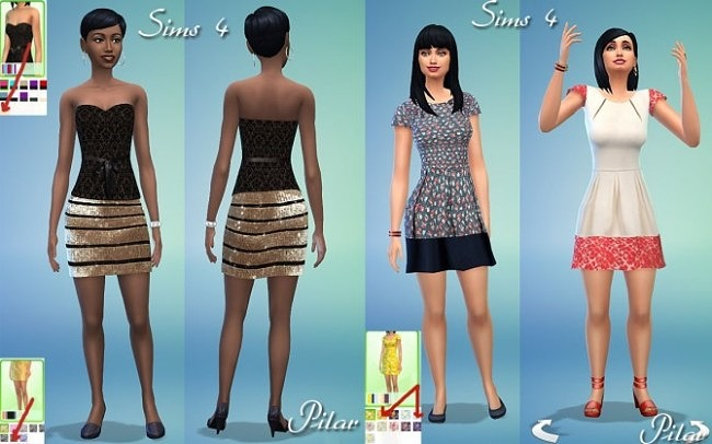 3 new dresses by Pilar at SimControl image 734 650x406 Sims 4 Updates