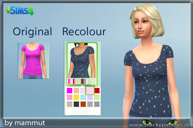 Sims 4 Solid Blue dots top by mammut at Blacky's Sims Zoo