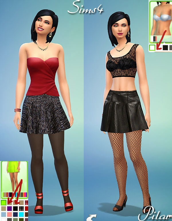 Sims 4 Two skirts and one top by Pilar at SimControl