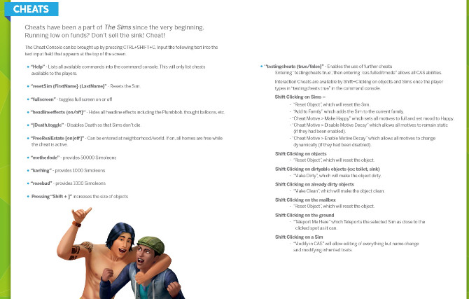 Sims 4 The Sims 4 Cheats for game
