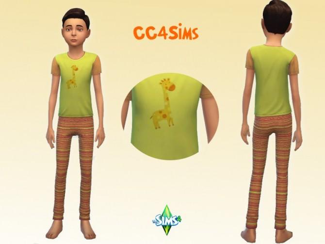 Sims 4 Giraffe pajamas for kids at CC4Sims