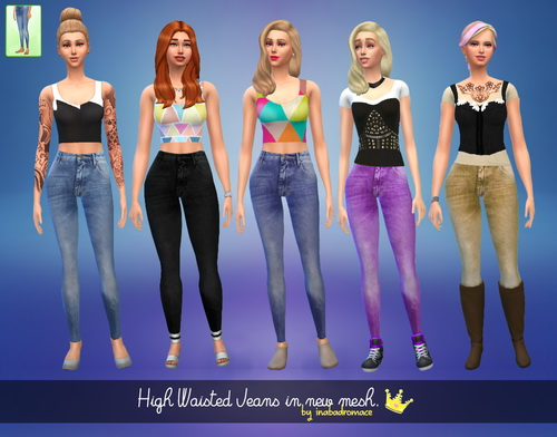 Sims 4 5 High Waisted Jeans at In a bad Romance
