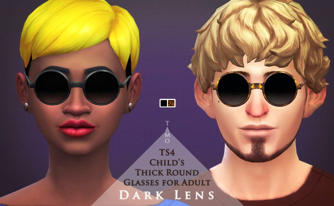 Sims 4 Round Glasses with Dark Lenses at Tamo