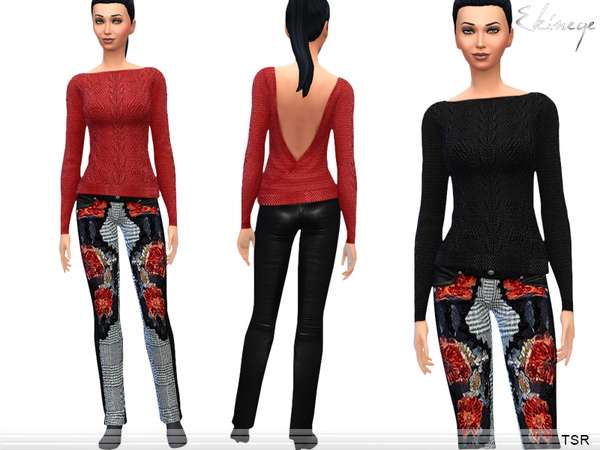 Sims 4 Open Back Sweater & Leather Pants by Ekinege at TSR