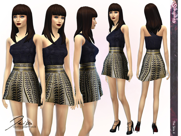 Sims 4 Jeisa Glamrock Outfit by Simsimay at The Sims Resource
