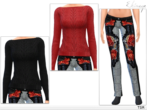 Open Back Sweater & Leather Pants by Ekinege at TSR image 1188 Sims 4 Updates
