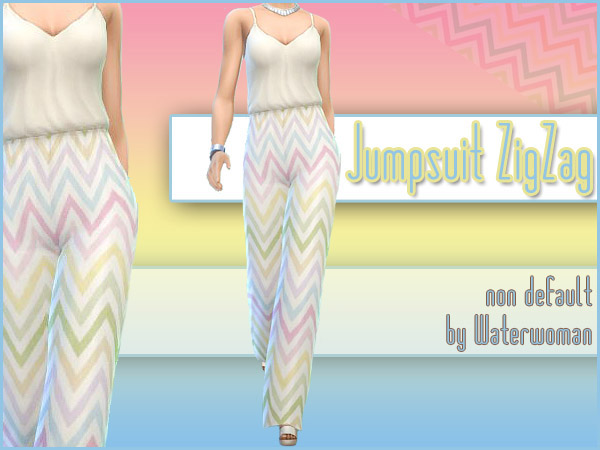 ZigZag Jumpsuit by Waterwoman at Akisima image 122 Sims 4 Updates