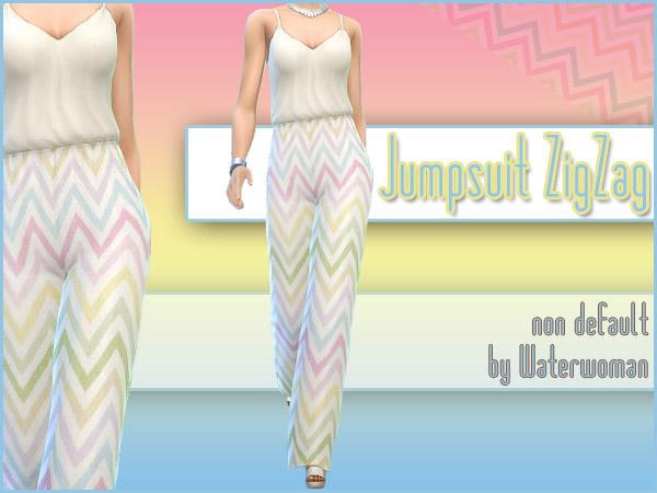 ZigZag Jumpsuit by Waterwoman at Akisima image 122 Sims 4 Updates
