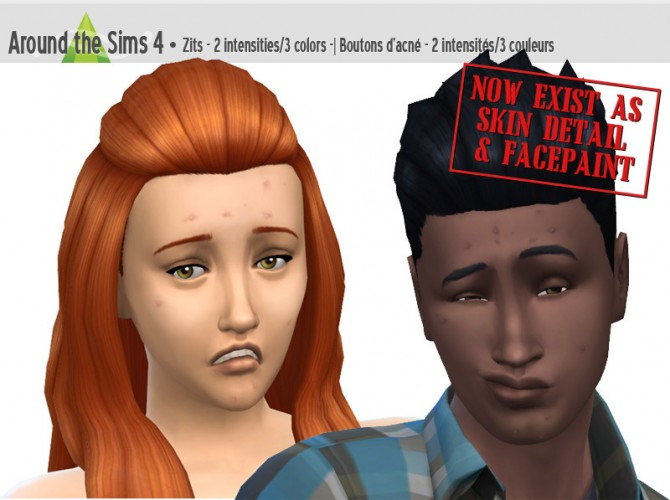 Sims 4 Zits as facepaint or skin detail at Around the Sims 4
