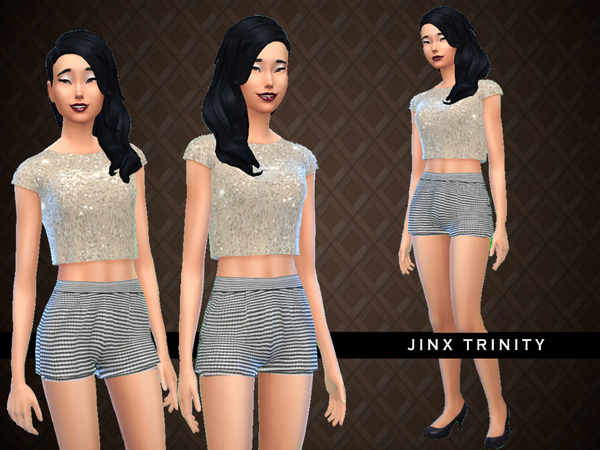 Sims 4 Exclusive Glittery gold shorts and top by JinxTrinity at TSR