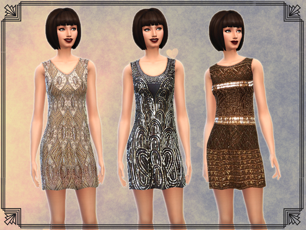 Sims 4 6 Art Deco Inspired Dresses by notegain at The Sims Resource