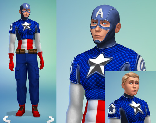 Sims 4 Captain America outfit plus accessories at Sambler