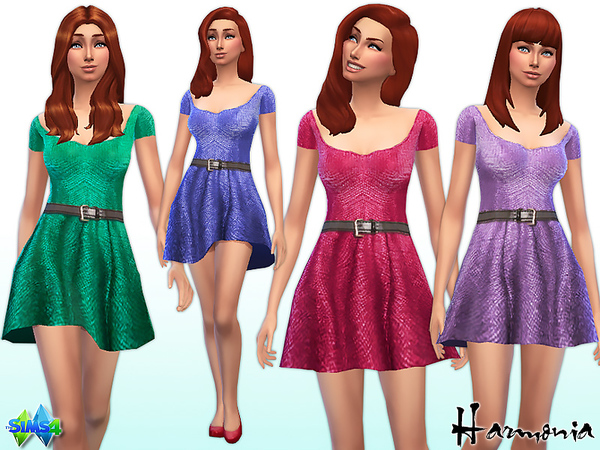 Sims 4 All over Metallic Skater Dress by Harmonia at TSR