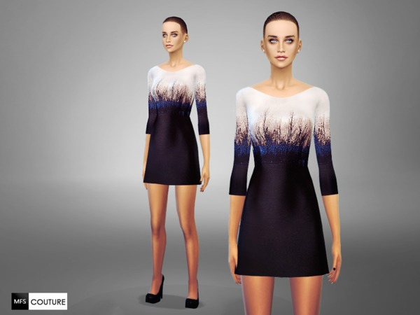 Sims 4 Blue Autumn Dress by MissFortune at TSR