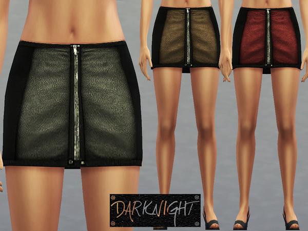 Sims 4 Leather Zipper Skirt by DarkNighTt at TSR