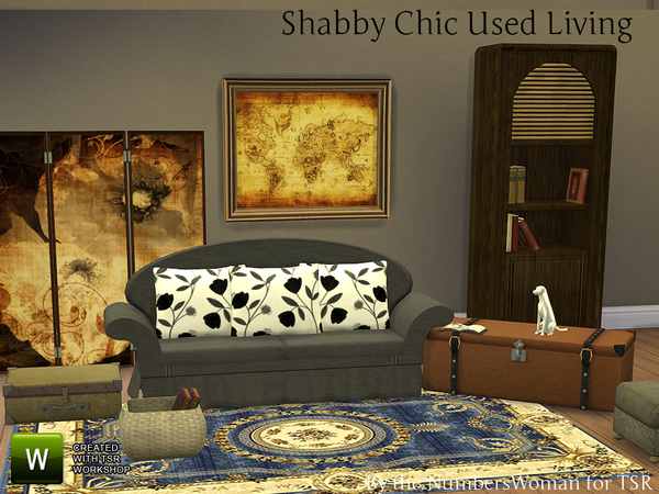 Sims 4 Shabby Chic Used Living Room by TheNumbersWoman at TSR