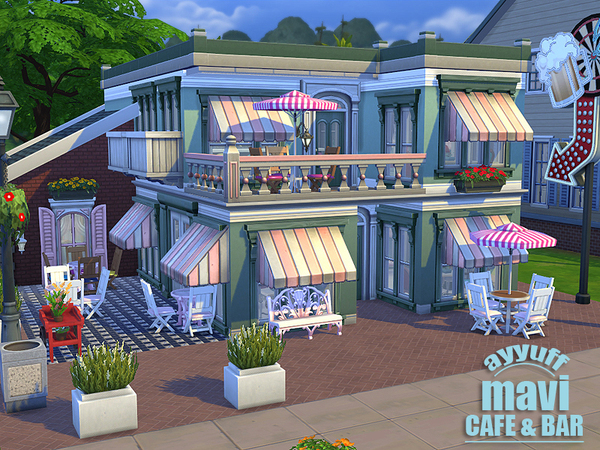 Mavi cafe bar by ayyuff at the sims resource