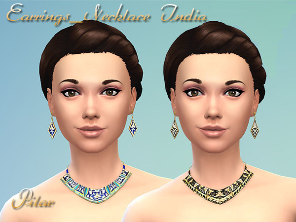 Sims 4 Earrings and Necklaces India by Pilar at TSR