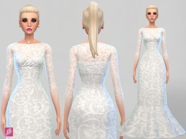 Sims 4 Lace Detail Gown by Alexandra Sine at TSR