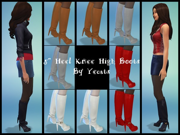 Sims 4 Five Inch Heel Knee High Boots by Yecats at The Sims Resource