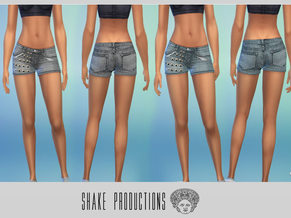 Sims 4 Studded Denim Shorts by ShakeProductions at TSR